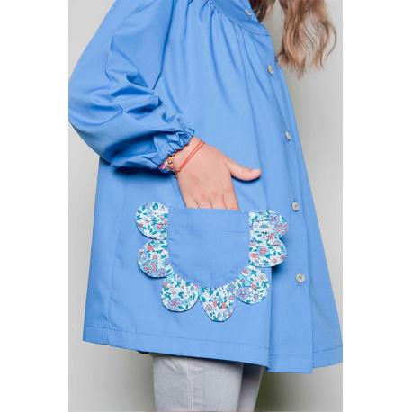 blouse cole fille emma fleur bleu. Black Bedroom Furniture Sets. Home Design Ideas