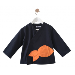Tablier ecole mixte Monsieur Fish - Bleu marine