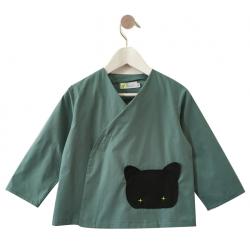 Tablier ecole mixte Petit chat - Vert aqua