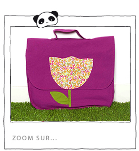 Zoom sur le cartable tulipe rose fushia