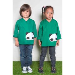 Tablier ecole mixte Petit panda - Vert