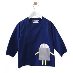 Tablier ecole garçon Petit Robot - Bleu électrique