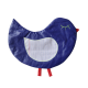 Trousse scolaire plate en forme d'oiseau bleu Oiso