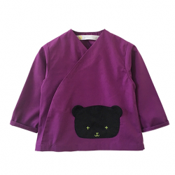 Tablier ecole mixte Monsieur Ours - Violet
