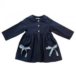 Tablier ecole fille Petite Princesse - Bleu Marine