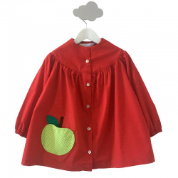 Tablier ecole fille Emma - Rouge