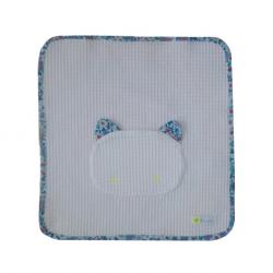 Serviette de table pour cantine coloris blanc avec contour liberty bleu