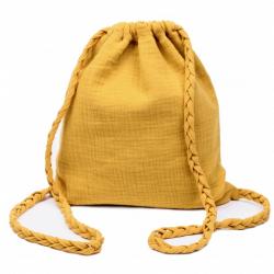 Sac d'activités en coton double gaze à bretelles tressées - Jaune moutarde