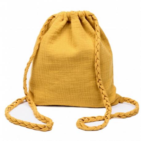 Sac d'activités en coton double gaze à bretelles tressées-Jaune moutarde