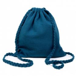 Sac d'activités en coton double gaze à bretelles tressées-Bleu paon