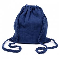 Sac d'activités en coton double gaze à bretelles tressées - Indigo
