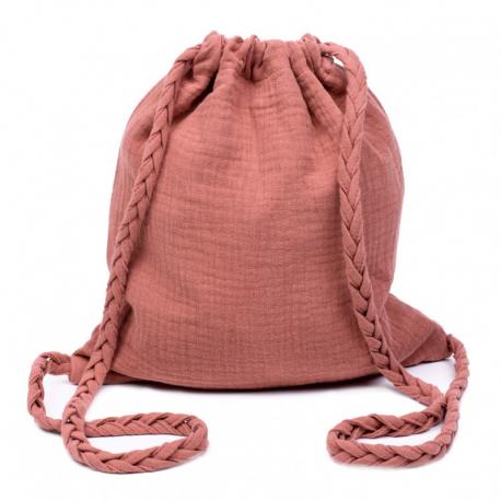 Sac d'activités en coton double gaze à bretelles tressées - Rose marsala