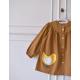 Blouse ecole fille Petit oiseau - Marron caramel