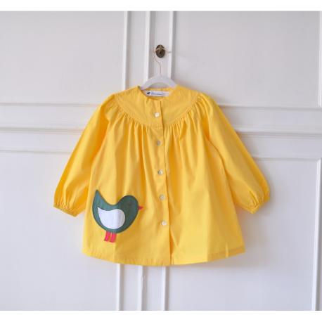 Blouse ecole fille Petit oiseau - Jaune