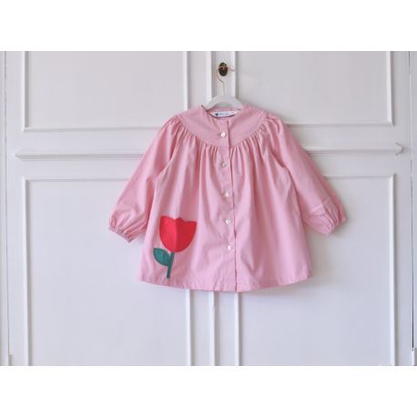 Blouse ecole fille Petite Fleur - Rose Tan